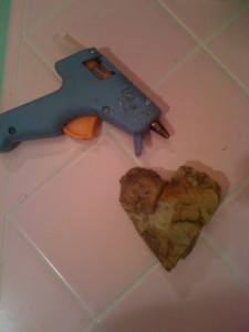 shale heart and hot glue gun